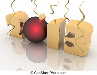 2013 year. Isolated 3D image