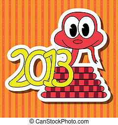 2013 year of the snake with red background