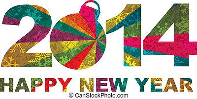 2014, år, lycklig, färsk, tal