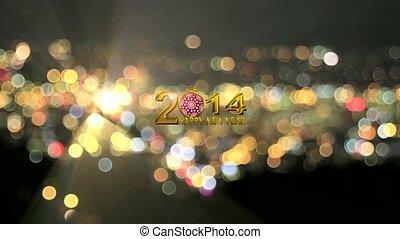 2014, światła, bokeh, rok, nowy, szczęśliwy