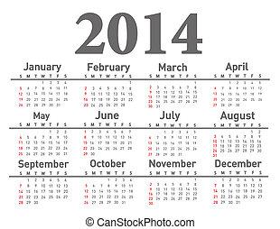 2014, ημερολόγιο