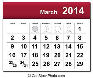 2014, календарь, март