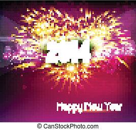 2014, カラフルである, 年, 幸せ, 新しい, ベクトル, 祝福, 美しい