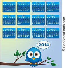 2014, カレンダー, ∥で∥, 面白い, 青い鳥