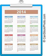 2014, カレンダー, クリップボード