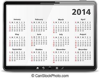 2014, カレンダー, コンピュータ, タブレット