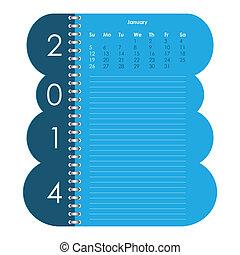 2014, カレンダー, ベクトル