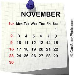 2014, カレンダー, ペーパー, 11 月
