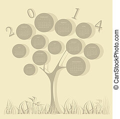 2014, カレンダー, 木, 年