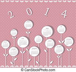 2014, カレンダー, 花, 年