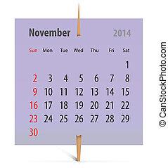 2014, カレンダー, 11 月