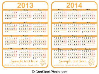 2014, カレンダー, -, 20113