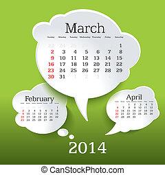 2014, カレンダー, 3月