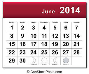 2014, カレンダー, 6月