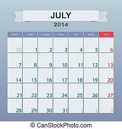 2014, カレンダー, monthly., 7月, スケジュール
