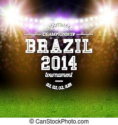 2014, フットボール, 競技場, 背景, ブラジル, poster., ベクトル, illustration., 活版印刷, design.