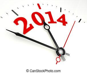2014, 年, 钟脸, 概念, 新