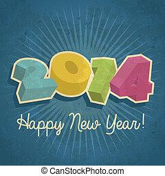 2014, 幸せ, 年, レトロ, 新しい