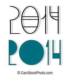 2014, 幸せ, 新しい, 創造的, ベクトル, デザイン, 年