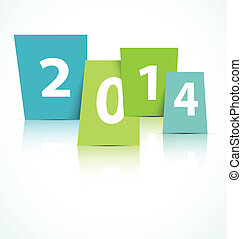2014, 新, 卡片, 年