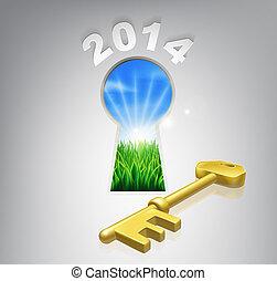 2014, 未来, 概念, あなたの, キー