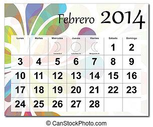 2014, 2 月, カレンダー