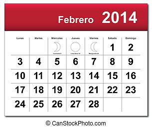 2014, 2 月, calendar.