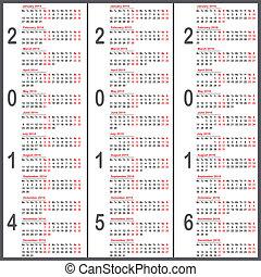2014, 2015, 2016 year calendars