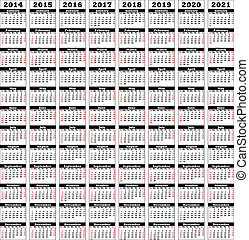 2014-2021 - Single-column display dates from 2014 up to 2021