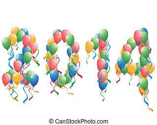 2014, año, plano de fondo, nuevo, globos