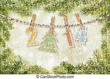 2014, achtergrond., vector, jaar, nieuw, vrolijke