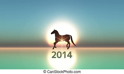 2014 and horse - image of new year