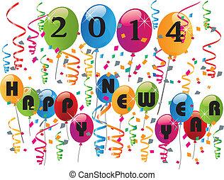 2014, anno, felice, fondo, nuovo