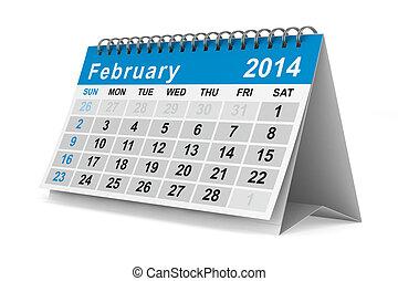 2014, ano, calendar., february., isolado, 3d, imagem