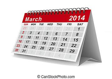 2014, ano, calendar., march., isolado, 3d, imagem
