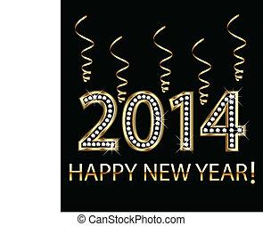 2014, ano, feliz, ouro, novo