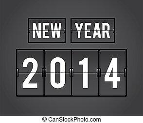 2014, ano, retro, split-flap, novo