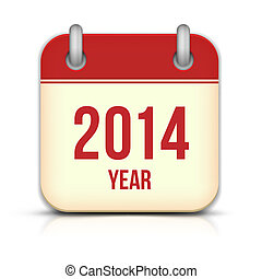 2014, ano, vetorial, calendário, app, ícone, com, reflexão