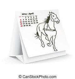 2014, avril, cheval, calendrier, bureau
