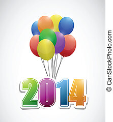 2014 balloons colorful card illustration design