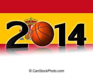 2014 basketball logo and spain flag