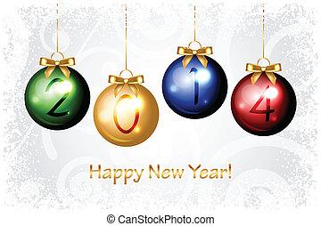 2014, boldog, új, háttér, év