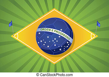 2014 brazil football court soccer ball flag shape, world tournament concept illustration. Vector file layered for easy manipulation and custom coloring.