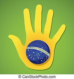 2014 brazil human hand soccer ball flag shape world tournament concept illustration. Vector file layered for easy manipulation and custom coloring.
