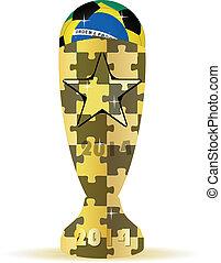 2014 Brazil soccer ball and golden trophy