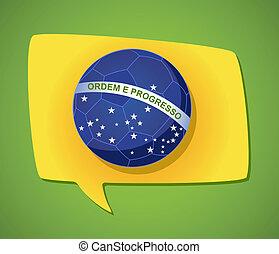 2014 brazil social media speech bubble soccer ball flag shape, world tournament concept illustration. Vector file layered for easy manipulation and custom coloring.