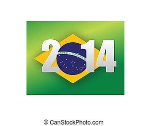 2014 brazilian flag. brazil 2014 flag illustration design over a green background
