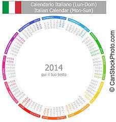 2014, círculo, calendário, italiano