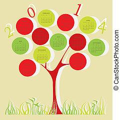 2014, calendário, árvore, ano