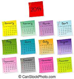 2014, calendário, adesivos